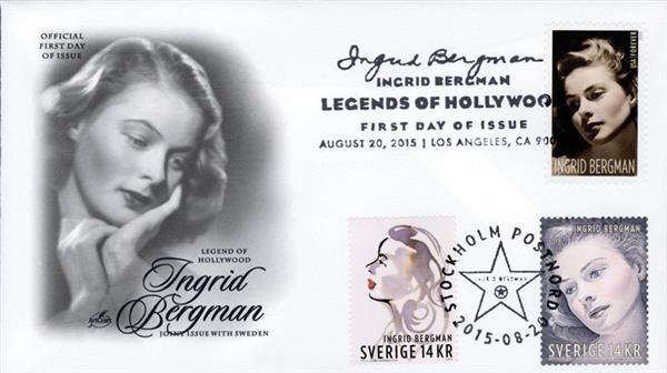 2005 Joint Issue - US (#5012) and Sweden (#2756,2758) - Ingrid Bergman