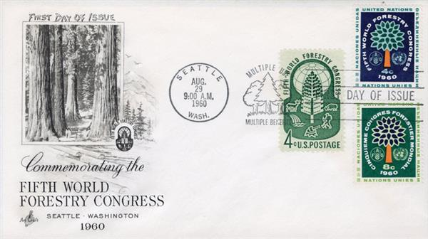 1960 Joint Issue - US and United Nations - 5th World Forestry Congress