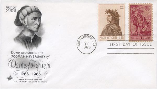 1965 Joint Issue - US and Italy - Poet Dante Alighieri