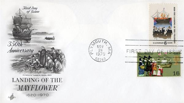 1970 Joint Issue - US and Great Britain - Landing of the Mayflower, 350th Anniversay