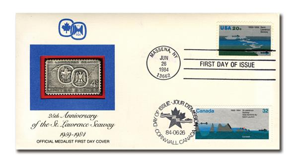 1984 Joint Issue - US and Canada - 25th Anniversary of Opening the St. Lawrence Seaway
