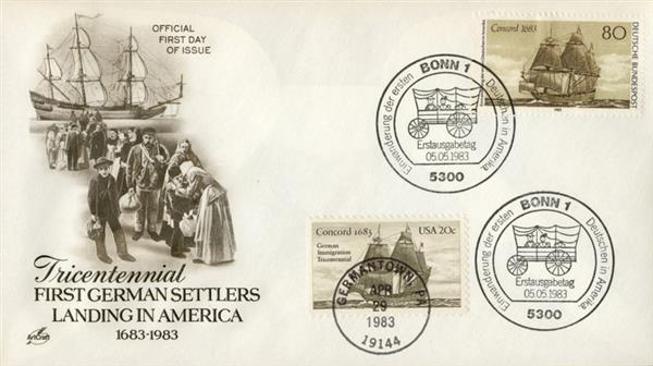 1983 Joint Issue - US and Germany - First German Settlers in America