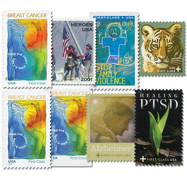 1998-2019 U.S. Semi-Postal Stamps, plus FREE 2014 Imperforate Semi-Postal, 8 stamps