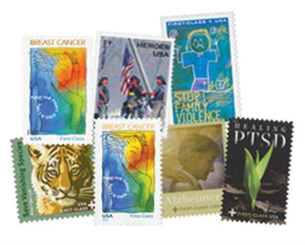 1998-2019 U.S. Semi-Postal Stamps, complete set of 7 stamps
