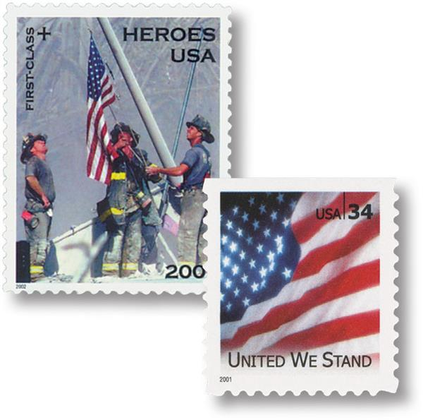 2002 34c+11c Heroes of 2001 and 2001 34c 'United We Stand' stamps