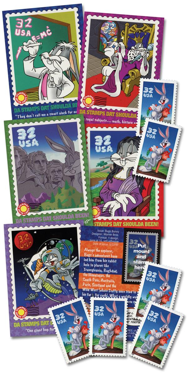 1997 Bugs Bunny Stamper Cards, Set of 6 Stamps with mounts & Collector Cards