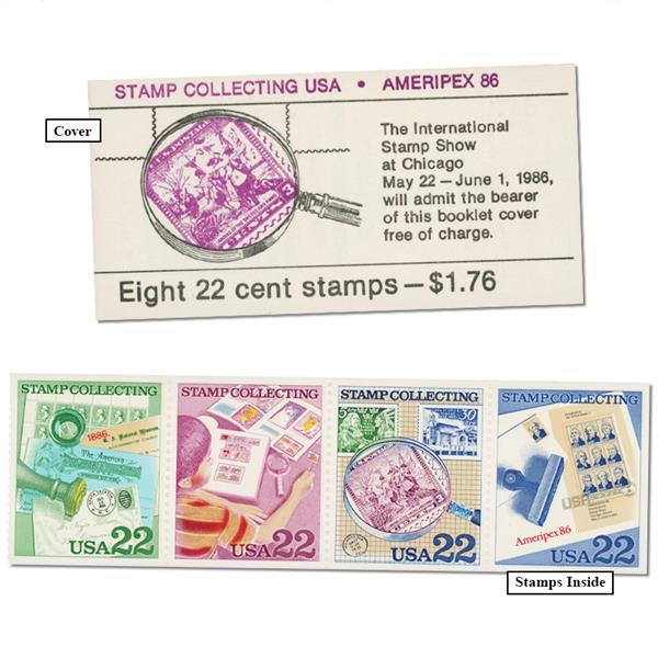 1986 Stamp Collecting Booklet - AMERIPEX Admission Ticket, 2 se-tens of 4