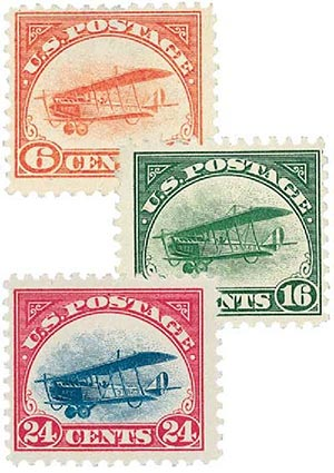 1918 Curtiss Jenny, set of 3 stamps