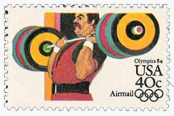 1983 40c Weight Lifting 1984 Olympics