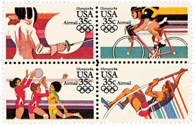 1983 35c Summer Olympics 84 Se-ten of 4