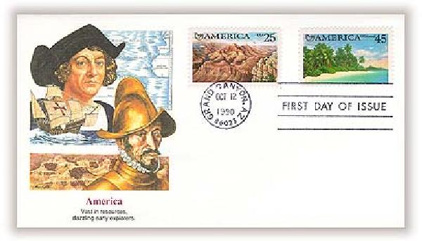 1990 25/45c Americas Combo First Day Cover