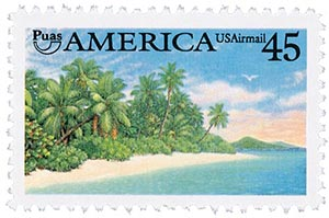 1990 45c AMERICA Caribbean coastal scene