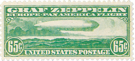 1930 65¢ Graf Zeppelin green