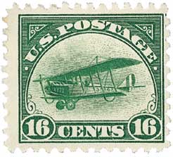 1918 16c Curtiss Jenny, green