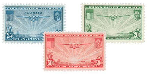 U.S. #C20-22 – Complete set of three China Clipper Airmail stamps.