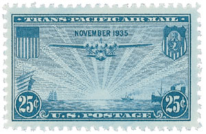 U.S. #C20 was the first U.S. stamp to include the month and date it was issued in tis design (November 1935).