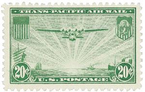 1937 20c Trans-Pacific green