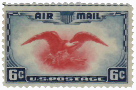 1938 6c Airmail Eagle ultra & carmine