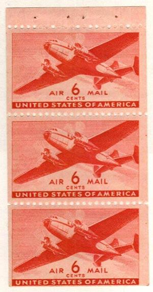 1943 6c Transport Plane,bklt pane (3)