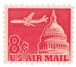 1962 8c Plane & Capitol,carmine
