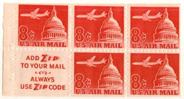 1962 8c Plane & Capitol,bklt pane 5+labl