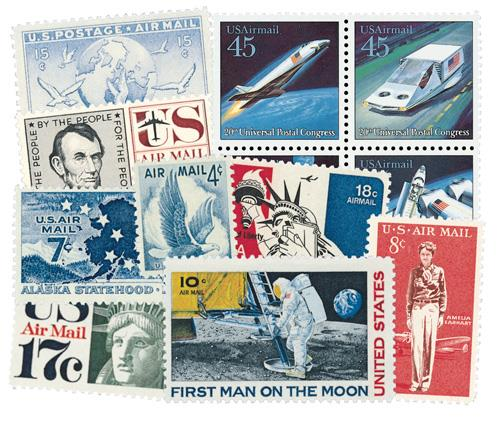 U.S. #C7//CE2 – Collection of 130 Airmail stamps with a free album.