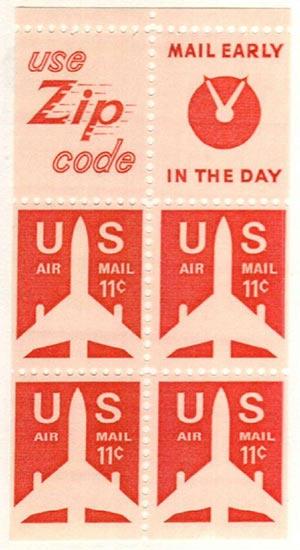 1971-73 11c Jet Airliner,bklt pn 4+2lbls