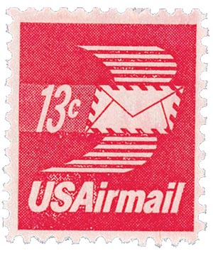1973 13c Winged Letter Sheet Single