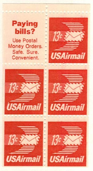 1973 13c Airmail Envelope,bklt 5+1lbl