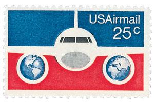 1976 25c Plane & Globes