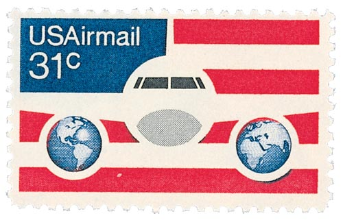 1976 31c Plane, Globes & Flags