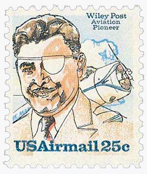 U.S. #C95 – Wiley Post was the first man to complete a solo flight around the world.
