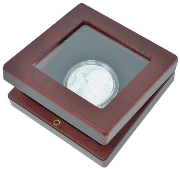 Volterra 4' x 4' Coin Box with Glass Window and Mahogany Wood Grain Finish