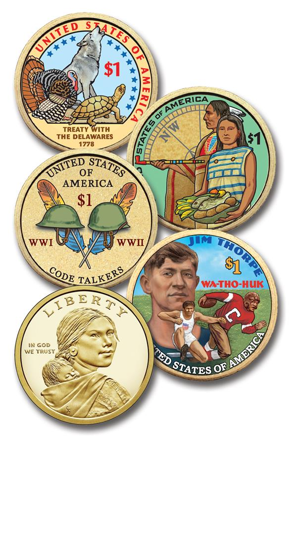 2013-18 Native American Coins, Set of 4, US Sacagawea Dollar