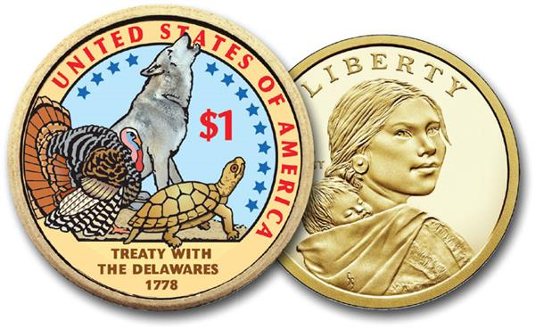 Native American 'Treaty with the Delawares', 2013 US Sacagawea Dollar