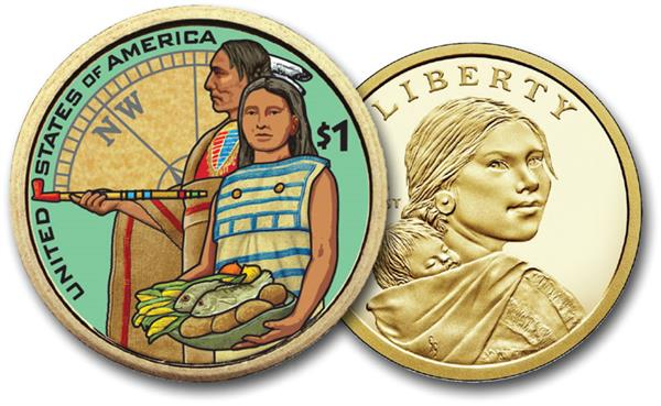 "Native American ""Hospitality"", 2014 US Sacagawea Dollar"