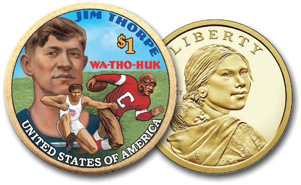 Native American 'Jim Thorpe', 2018 US Sacagawea Dollar