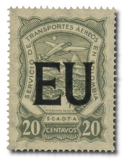 1923 20 gray Colombia (SCADTA) Consular Overprint