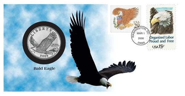2008 $1 Silver Bald Eagle Coin Cover