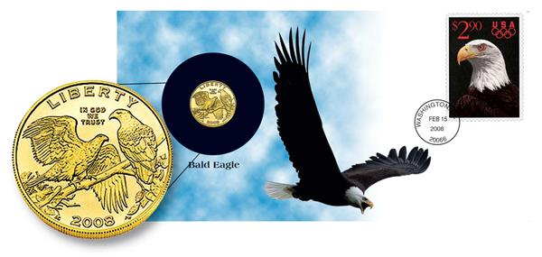 2008 $5 Gold Bald Eagle Coin Cover