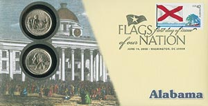 2008 42c Flags of Nation, AL coin FDC