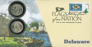 2008 42c Flags of Nation, DE coin FDC