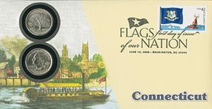 2008 42c Flags of Nation, CT coin FDC