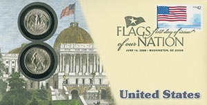 2008 42c Flags of Nation, US coin FDC