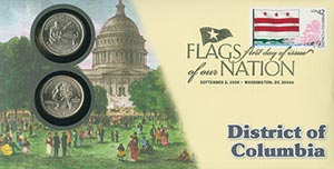 2008 42c Flags of Nation, DC coin FDC