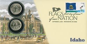 2008 42c Flags of Nation, ID coin FDC