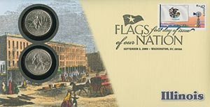 2008 42c Flags of Nation, IL coin FDC