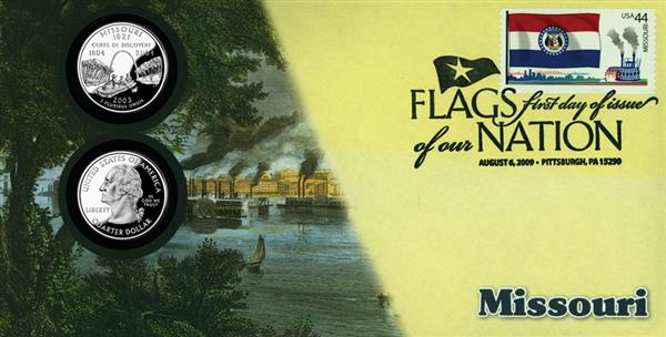 2009 44c Flags of Nation, MO Coin FDC