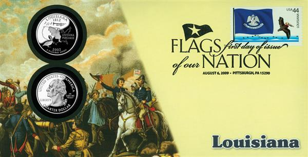 2009 44c Flags of Nation, LA Coin FDC
