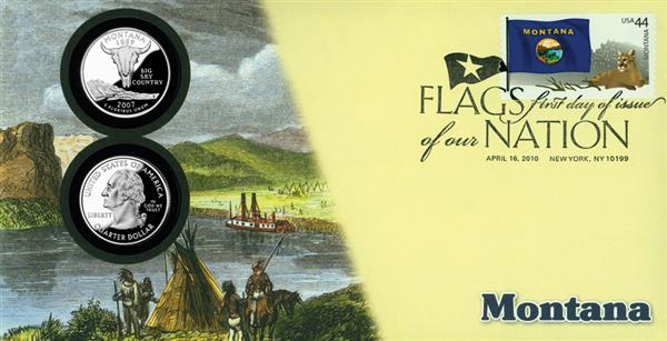 2010 44c Flags of Nation, MT Coin FDC
